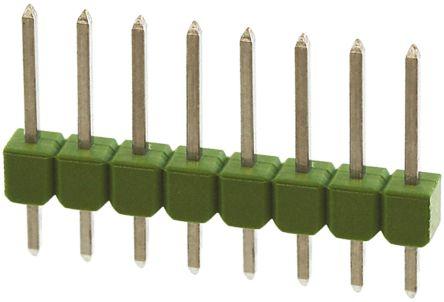 TE Connectivity , AMPMODU MOD II, 8 Way, 1 Row, Straight Pin Header (10)