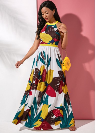 Cocktail Party Dress Sleeveless Maxi Large Floral Print Dress - XS