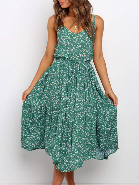 Milanoo Summer Dress Green Straps Neck Printed Polyester Beach Dress