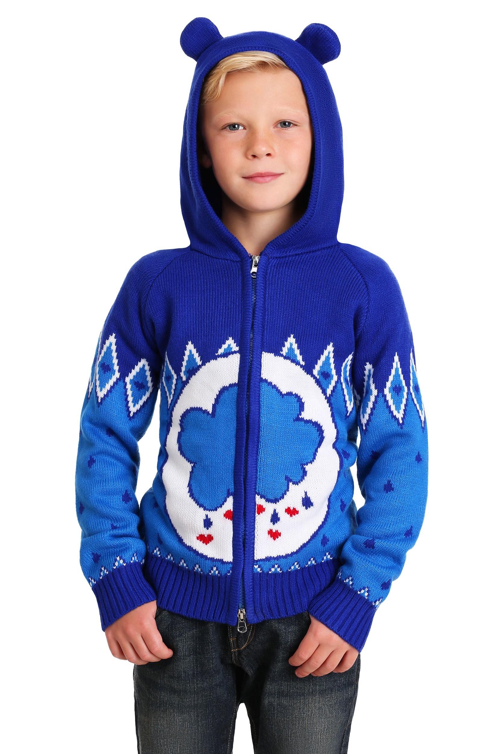 Zip Up Child Grumpy Bear Care Bears Knit Sweater