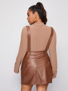 Plus Buttoned Front Flap Detail PU Leather Pinafore Dress