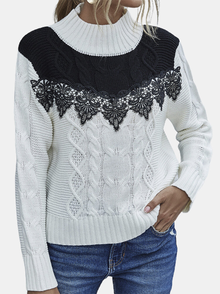 Lace Patchwork Long Sleeve Half-collar Sweater For Women