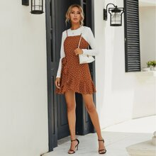 Polka Dot Tie Side Ruffle Wrap Cami Dress Without Tee