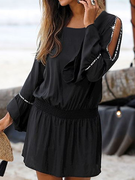 Yoins Black Cut Out Sequins Cold Shoulder Long Sleeves Mini Dress