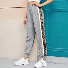 Leopard Print Sideseam Sweatpants