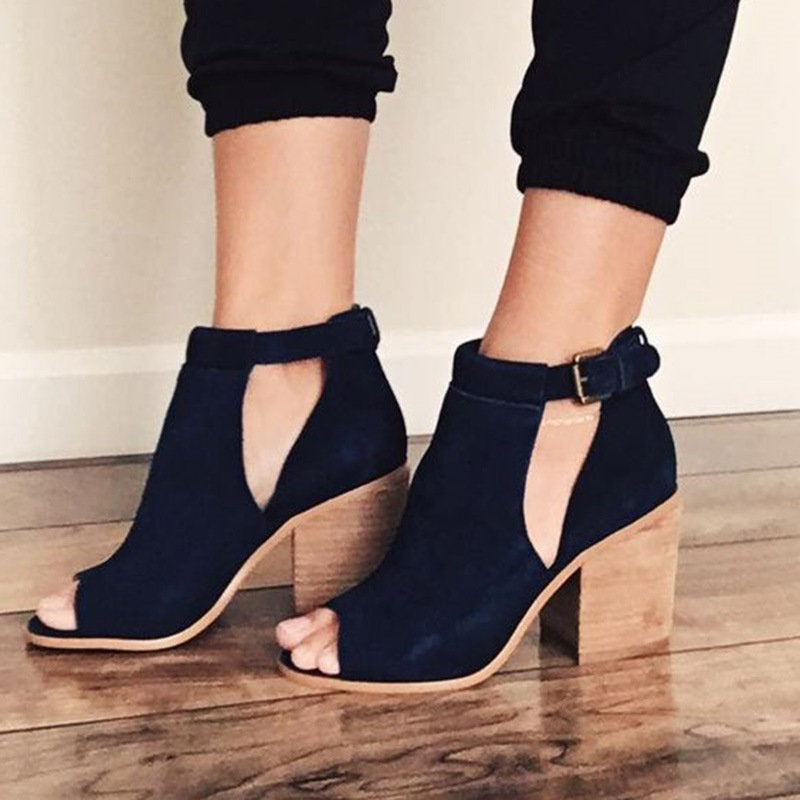 Ericdress Black Peep Toe Chunky Sandals
