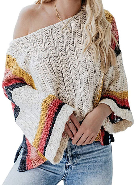Milanoo Women Pullover Sweater Apricot Stripes Bateau Neck Long Sleeves Casual Sweaters