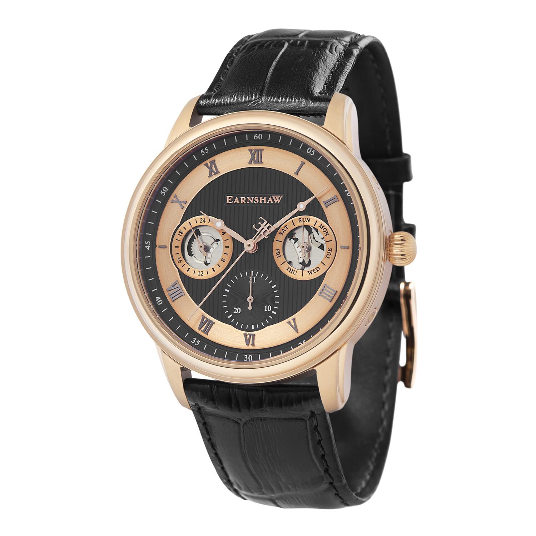 Thomas Earnshaw Men's Longitude Multi-Function ES-8099-04 Black Leather Quartz Dress Watch