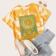 T-Shirt mit Batik und Grafik Muster