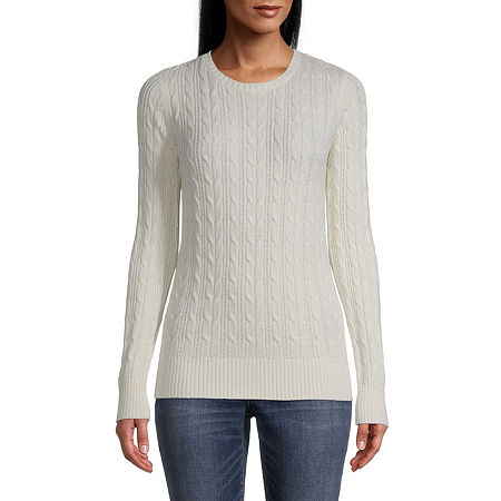 St. John's Bay Cable Womens Crew Neck Long Sleeve Pullover Sweater, Petite Medium , White