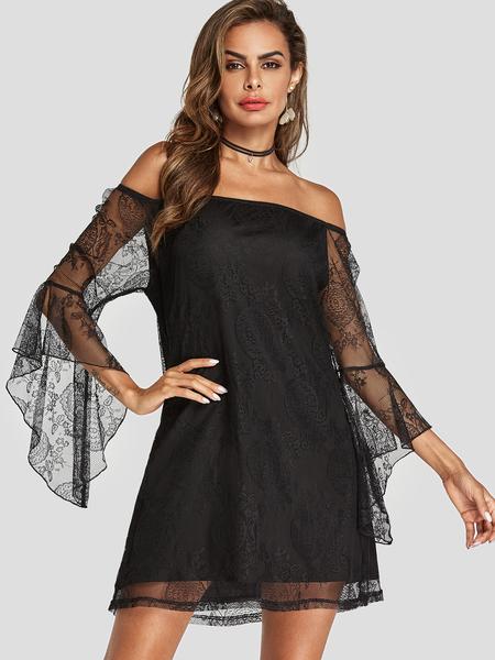 Yoins Black Lace Details Off The Shoulder Dress