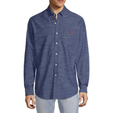 U.S. Polo Assn. Mens Long Sleeve Button-Down Shirt, Large , Blue