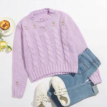 Pullover mit Blumen Stickereien und Zopfmuster