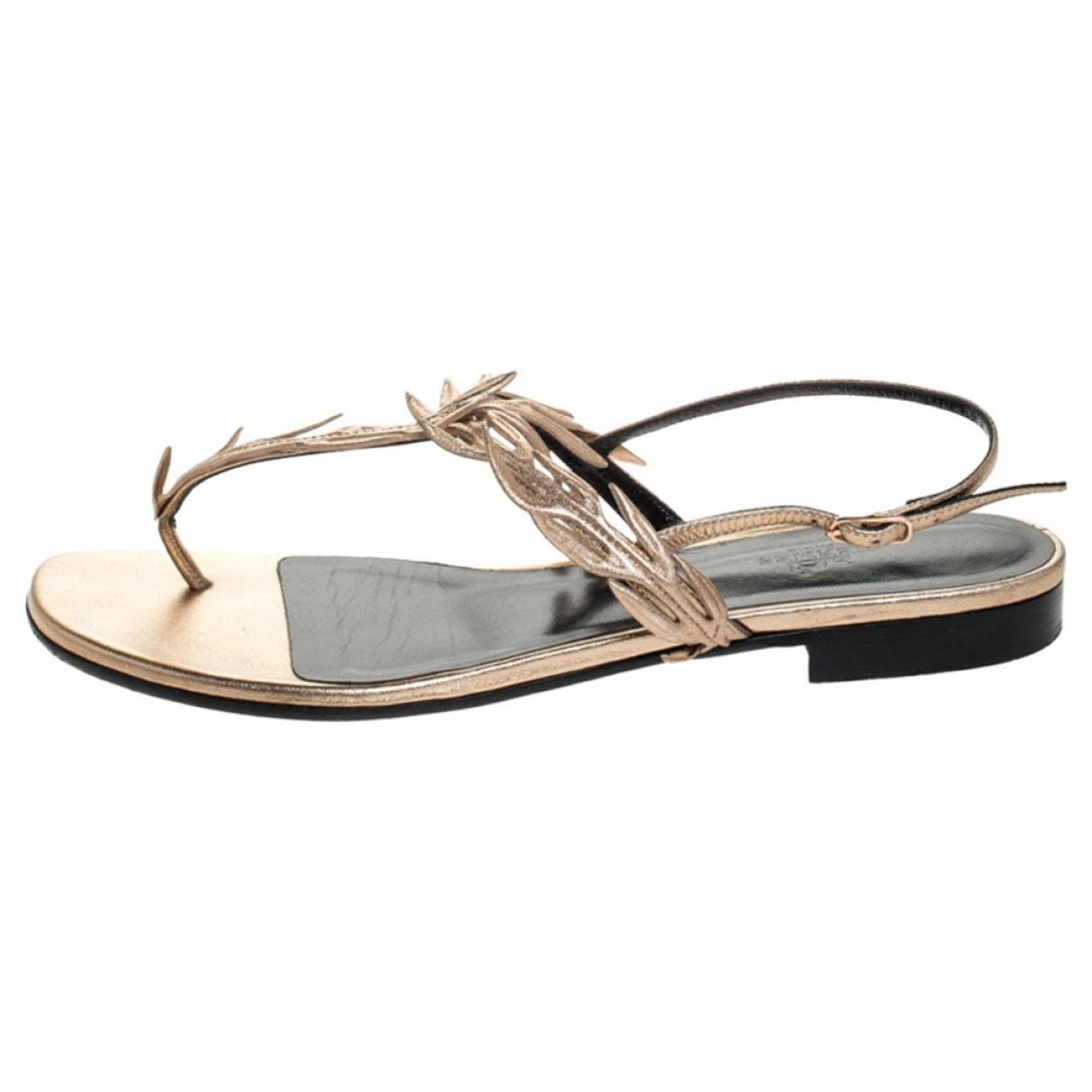 Hermes - Sandales   pour femme en cuir - kaki