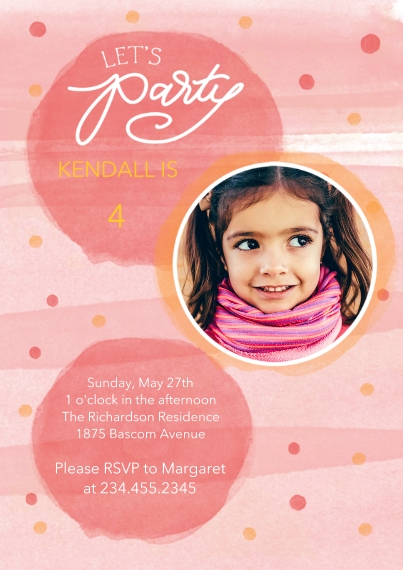 Kids Birthday Party Invites 5x7 Cards, Premium Cardstock 120lb with Rounded Corners, Card & Stationery -Festive Pastels - Pink