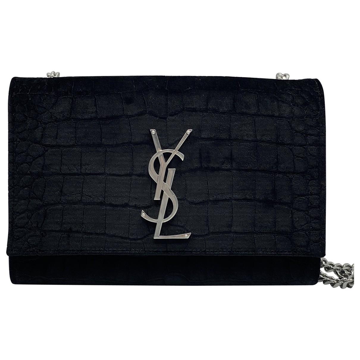 Saint Laurent Kate monogramme Black Velvet handbag for Women \N