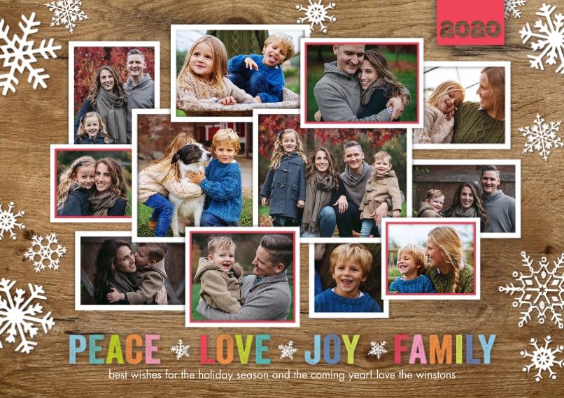 Christmas Photo Cards 5x7 Cards, Premium Cardstock 120lb, Card & Stationery -2020 Christmas Peace Love Joy Family by Tumbalina