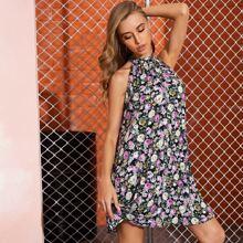 Floral Print Pleated Halter Dress