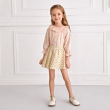 Toddler Girls Ruffle Trim Keyhole Back Blouse & Ditsy Floral Skirt