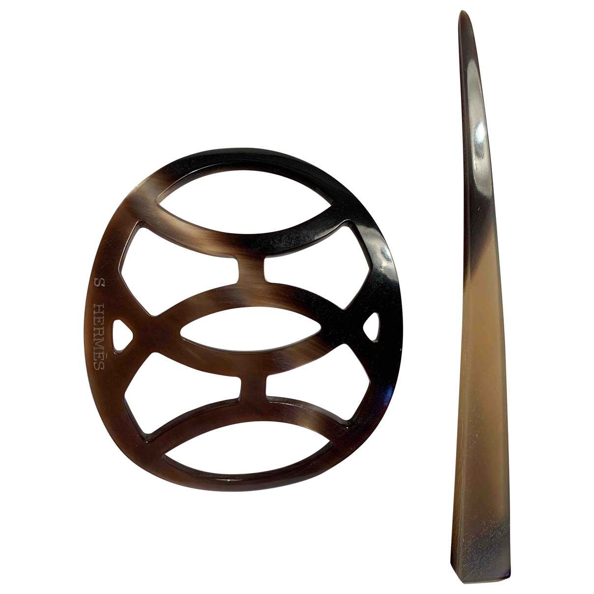 Hermes - Bijoux de tete   pour femme en corne - marron