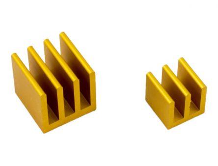 MODMYPI LTD Heatsink, 25°C/W, 10 x 10 x 10 (Medium Ethernet Controller) mm, 14 x 14 x 14 (Large Broadcom CPU) mm, Thermal Adhesive, Gold