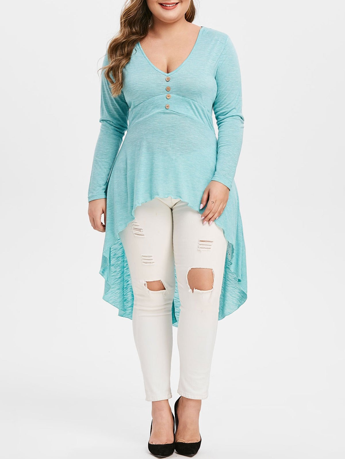 Plus Size High Low Plunge T Shirt