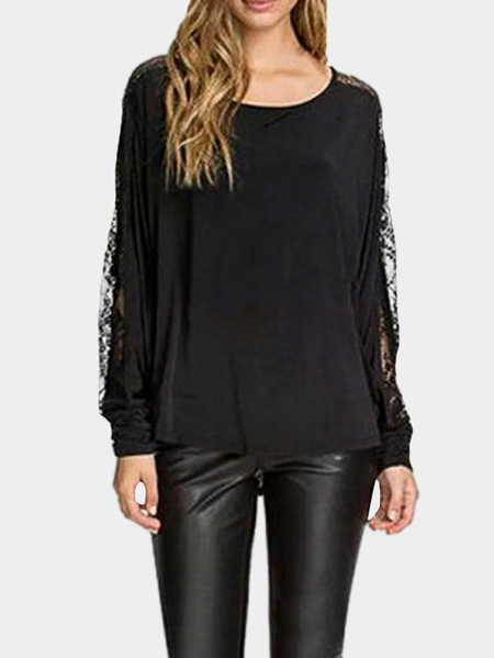 Yoins Loose Lace Insert See-through Blouse for Fall