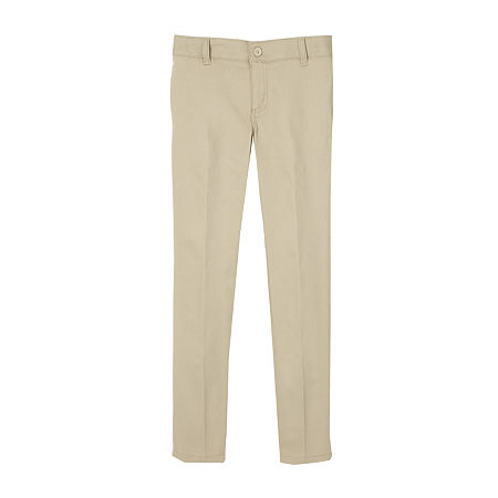 French Toast Little & Big Girls Skinny Flat Front Pant, 10 , Beige