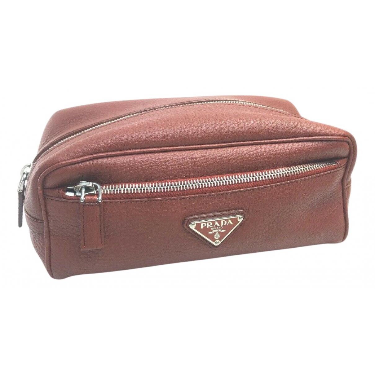 Prada N Burgundy Leather Travel bag for Women N