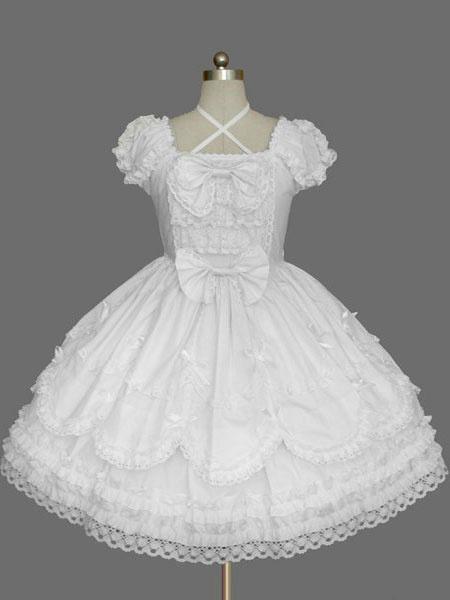 Milanoo White Bows Cotton Gothic Lolita One-Piece for Girls
