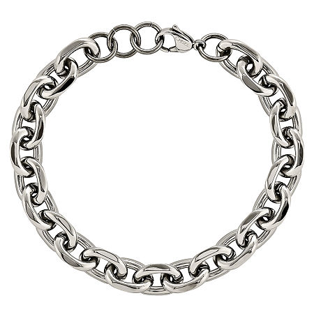 Mens Stainless Steel Chain Bracelet, One Size , No Color Family
