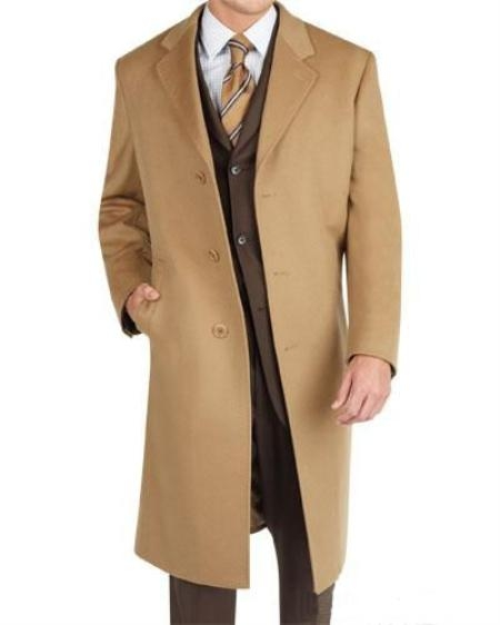 3 Button Camel Wool Blend Topcoat Mens