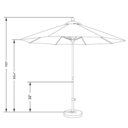 ALTO908170-5446 9' Venture Series Commercial Patio Umbrella With Matted White Aluminum Pole Fiberglass Ribs Push Lift With Sunbrella 1A Forest Green