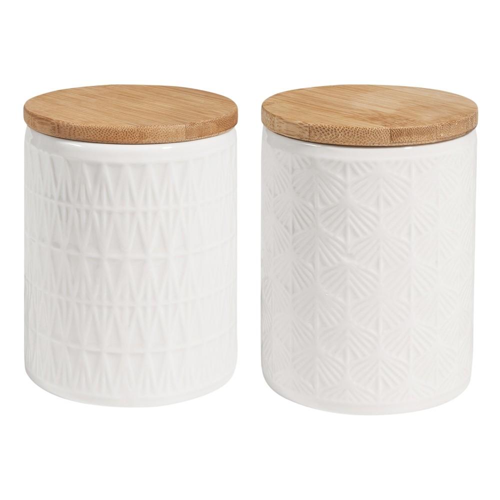 2 Becher aus Keramik, weiss mit Deckel