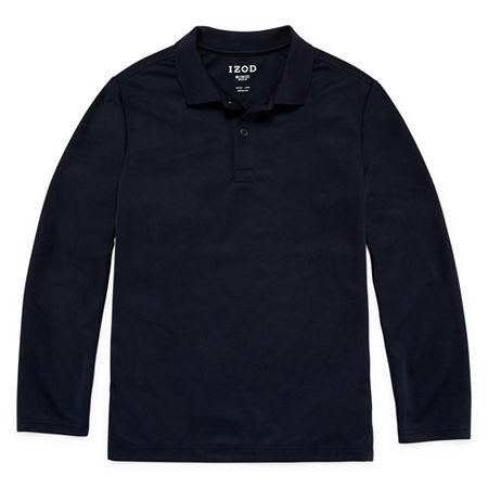 IZOD Little & Big Boys Long Sleeve Wrinkle Resistant Moisture Wicking Polo Shirt, Xx-small , Blue