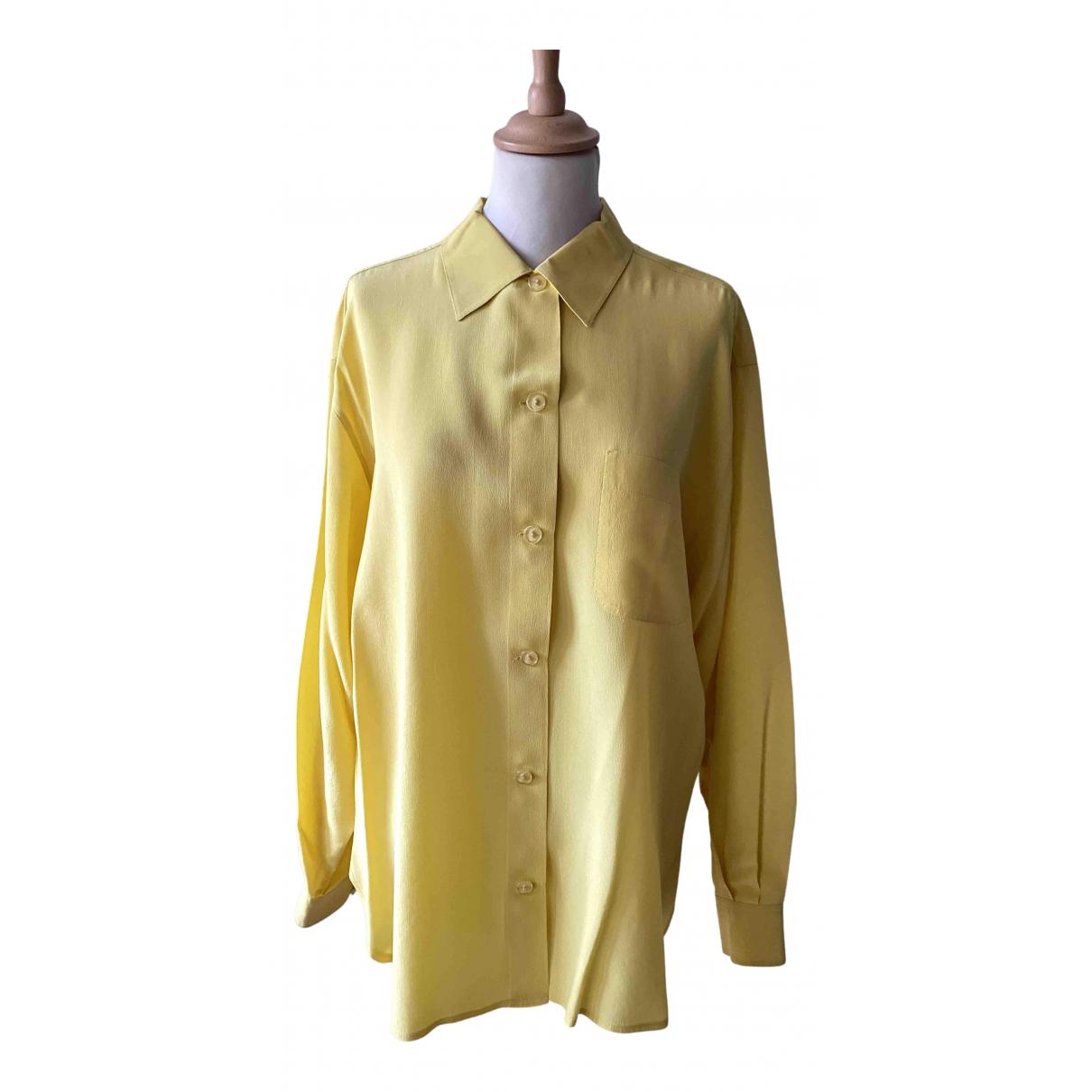 Max Mara - Top   pour femme en soie - jaune