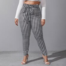 Plus Houndstooth Paperbag Waist Belted Pants