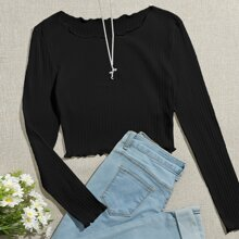 Lettuce Edge Rib-knit Crop Tee