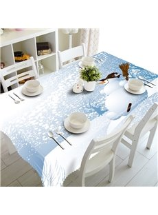 3D Flying Snow with Lovely Snowman Printed Winter Scenery Polyester Table Cover