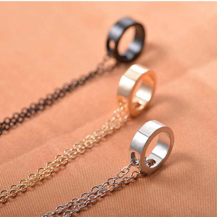 Simple Ring Pendant Necklaces Classic Unisex Clavicle Necklace Couple Jewelry Gift for Women Men