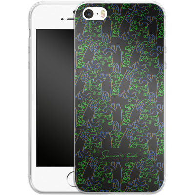 Apple iPhone 5s Silikon Handyhuelle - Simon´s Cat Black and Green Pattern von Simons Cat