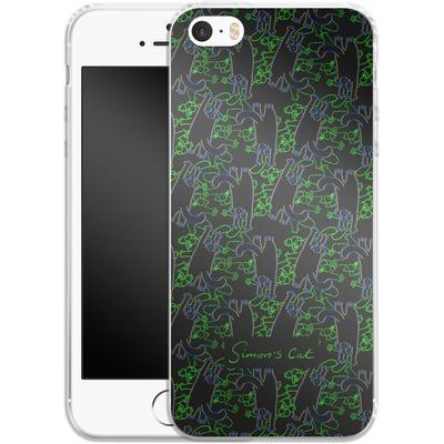 Apple iPhone 5s Silikon Handyhuelle - Simon´s Cat Black and Green Pattern von Simons Cat