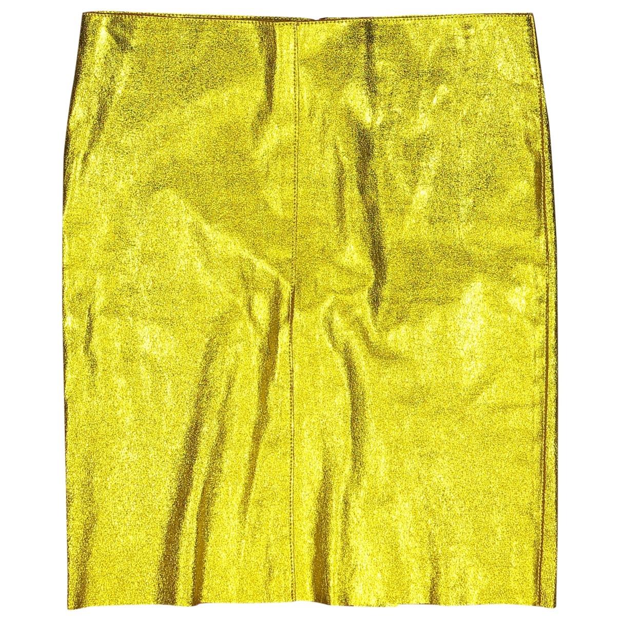 Jitrois - Jupe   pour femme en cuir - jaune