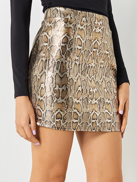 Yoins Snake Pattern Bodycon Skirt