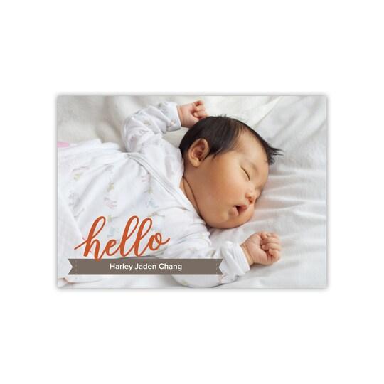 20 Pack of Gartner Studios® Personalized Timeless Hello Flat Baby Boy Announcement in Pumpkin   5