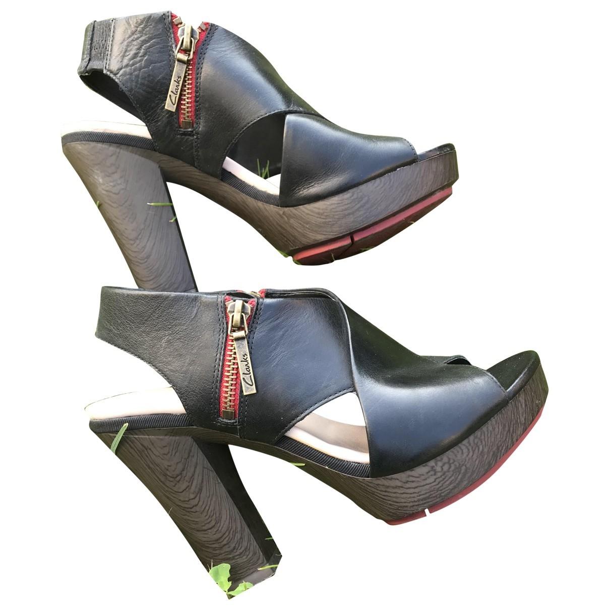 Clarks \N Black Leather Sandals for Women 4.5 UK