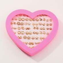 36 piezas pendientes de niñitas con diseño de perla artificial con caja