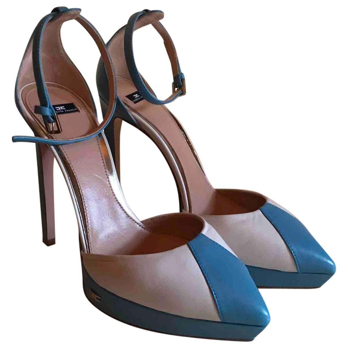 Elisabetta Franchi - Escarpins   pour femme en cuir - turquoise