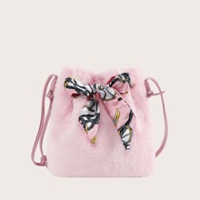 Twilly Scarf Decor Fluffy Bucket Bag