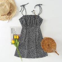 Plus Tie Shoulder Ditsy Floral Cami Dress
